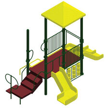 Galvanized Steel Tube Constructed Tess Mega Series Play Center with Thermoplastic Coated Punch Steel Decks - 144