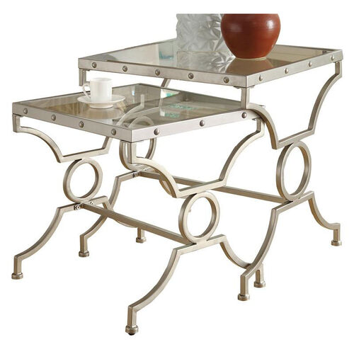Our Satin Metal 2 Piece Nesting Table Set with Tempered Glass Top - Silver is on sale now.