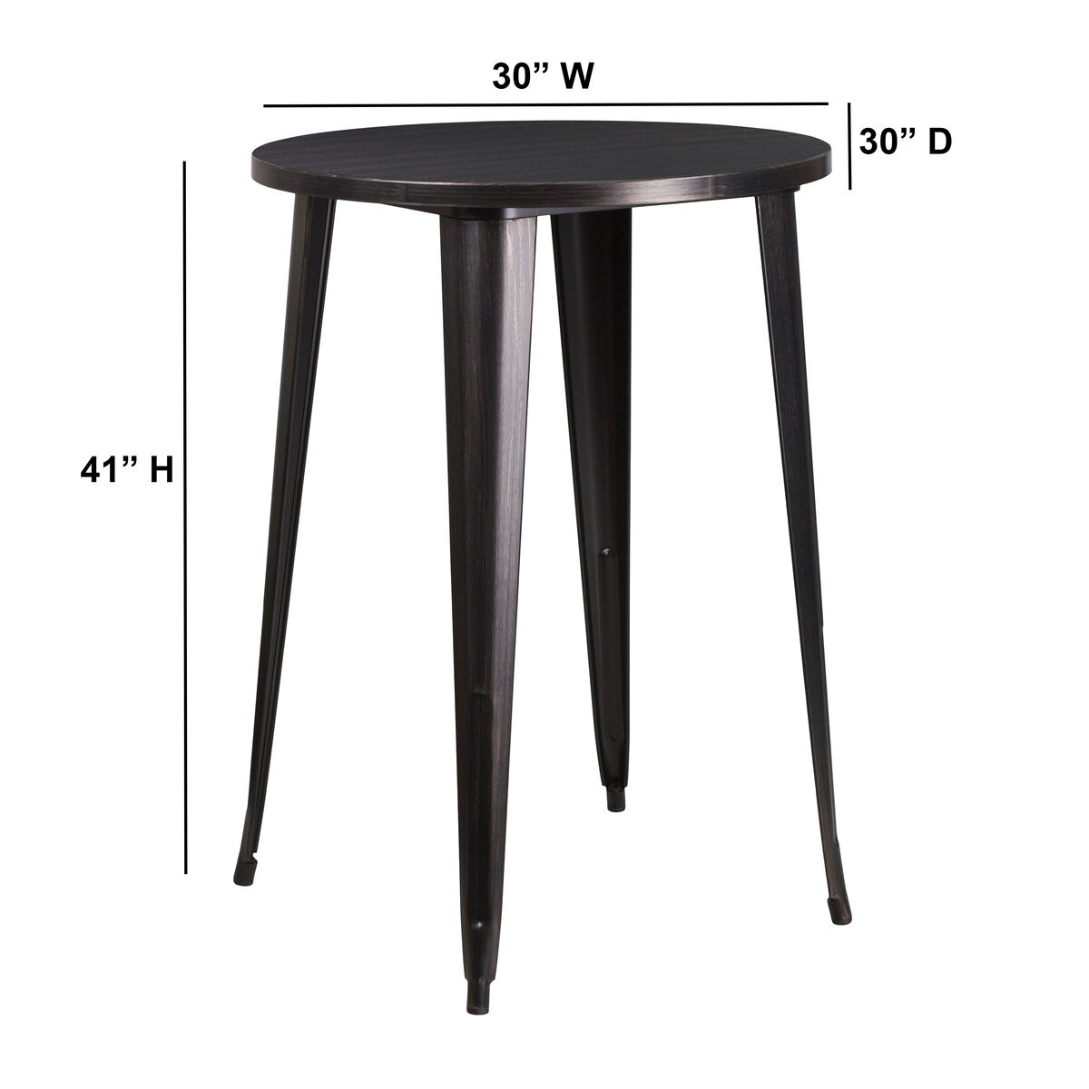 Our 30 Round Black Antique Gold Metal Indoor Outdoor Bar Height Table