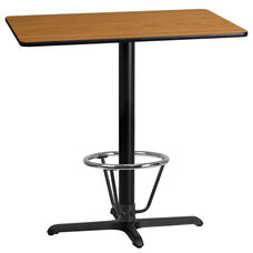 24'' x 42'' Rectangular Natural Laminate Table Top with 23.5'' x 29.5'' Bar Height Table Base and Foot Ring