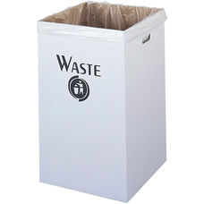 Economical Corrugated Waste Receptacle Solution - Set of Twelve - White