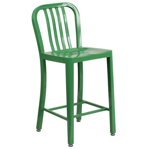 """Our Commercial Grade 24"""" High Green Metal Indoor-Outdoor Counter Height Stool with Vertical Slat Back is on sale now."""