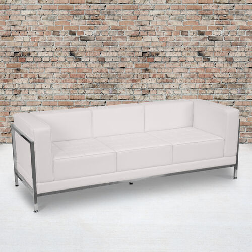 HERCULES Imagination Series Contemporary Melrose White LeatherSoft Sofa with Encasing Frame