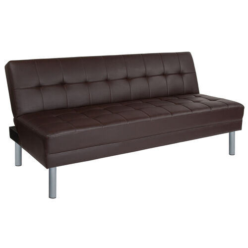 """Our Metropolitan 67"""" Brown LeatherSoft Futon Bed and Couch is on sale now."""