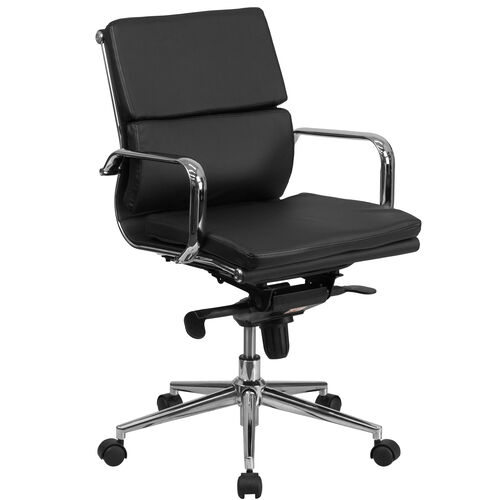 Our Mid-Back Black LeatherSoft Executive Swivel Office Chair with Synchro-Tilt Mechanism and Arms is on sale now.