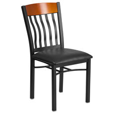 Vertical Back Black Metal and Cherry Wood Restaurant Chair with Black Vinyl Seat