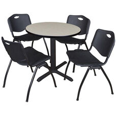 Cain 30'' Round Laminate Breakroom Table with 4 ''M'' Stack Chairs - Maple Table Finish and Black Chairs