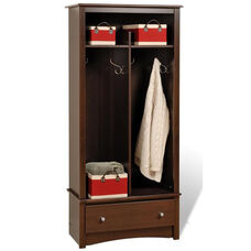 Fremont Entryway Organizer with 5 Storage Compartments and 4 Coat Hooks - Espresso