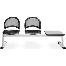 Moon 3-Beam Seating with 2 Black Plastic Seats and 1 Table - Gray Nebula Finish