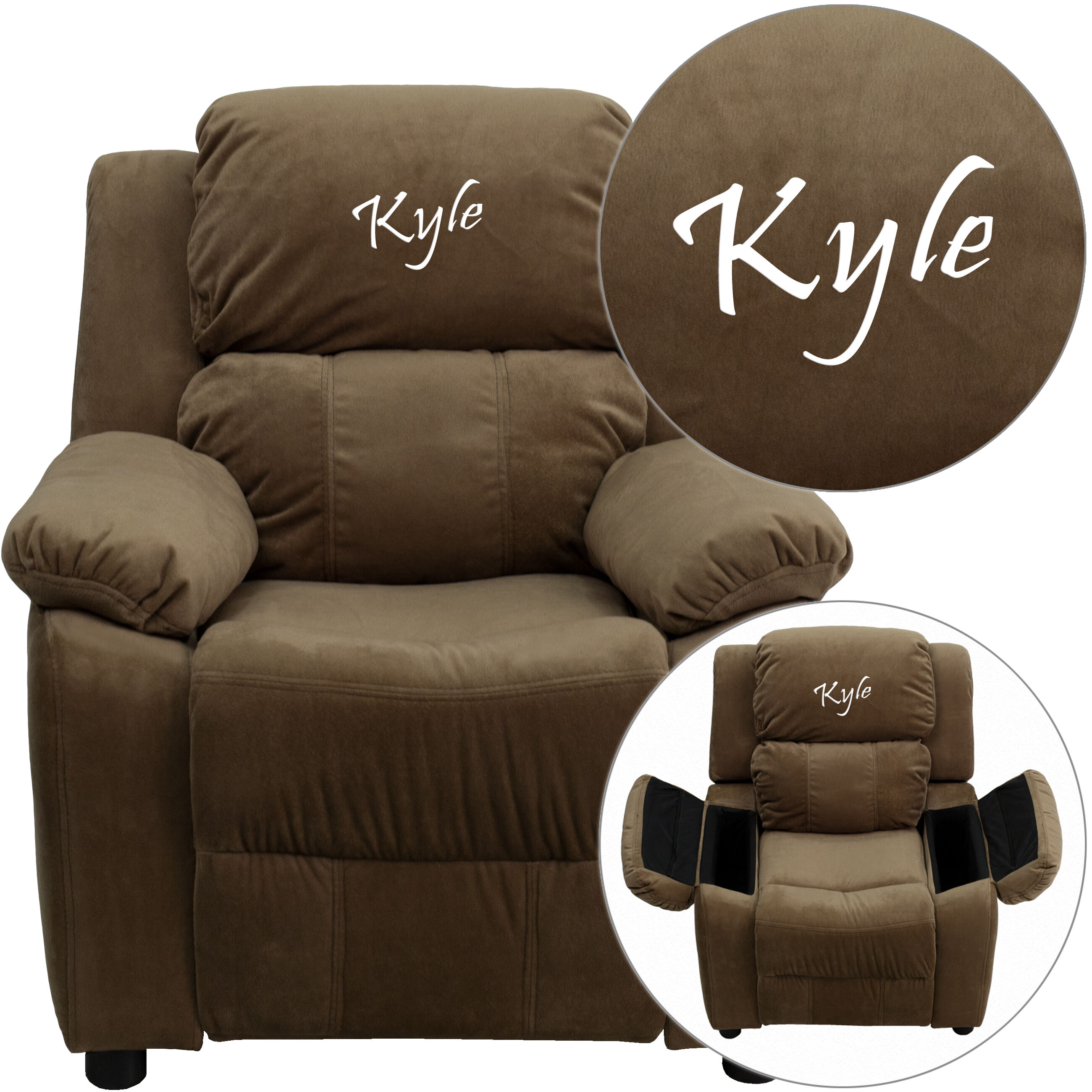 Personalized Deluxe Padded Brown Microfiber Kids Recliner with Storage Arms  sc 1 st  Bizchair.com & Personalized Kids Recliners at low budget prices | Bizchair.com islam-shia.org