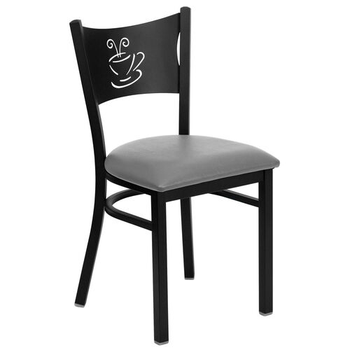 Our Black Coffee Back Metal Restaurant Chair with Custom Upholstered Seat is on sale now.