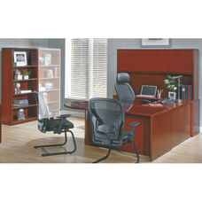 OSP Furniture Sonoma Wood U-Shaped Desk with Bullet Return and Bookcase - Cherry