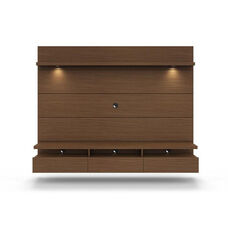 Cabrini 2.2 Theater Entertainment Center Panel with Overhead LED Lights - Nut Brown