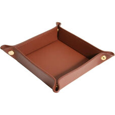 Luxury Travel Valet Catchall Tray - Top Grain Nappa Leather - Tan