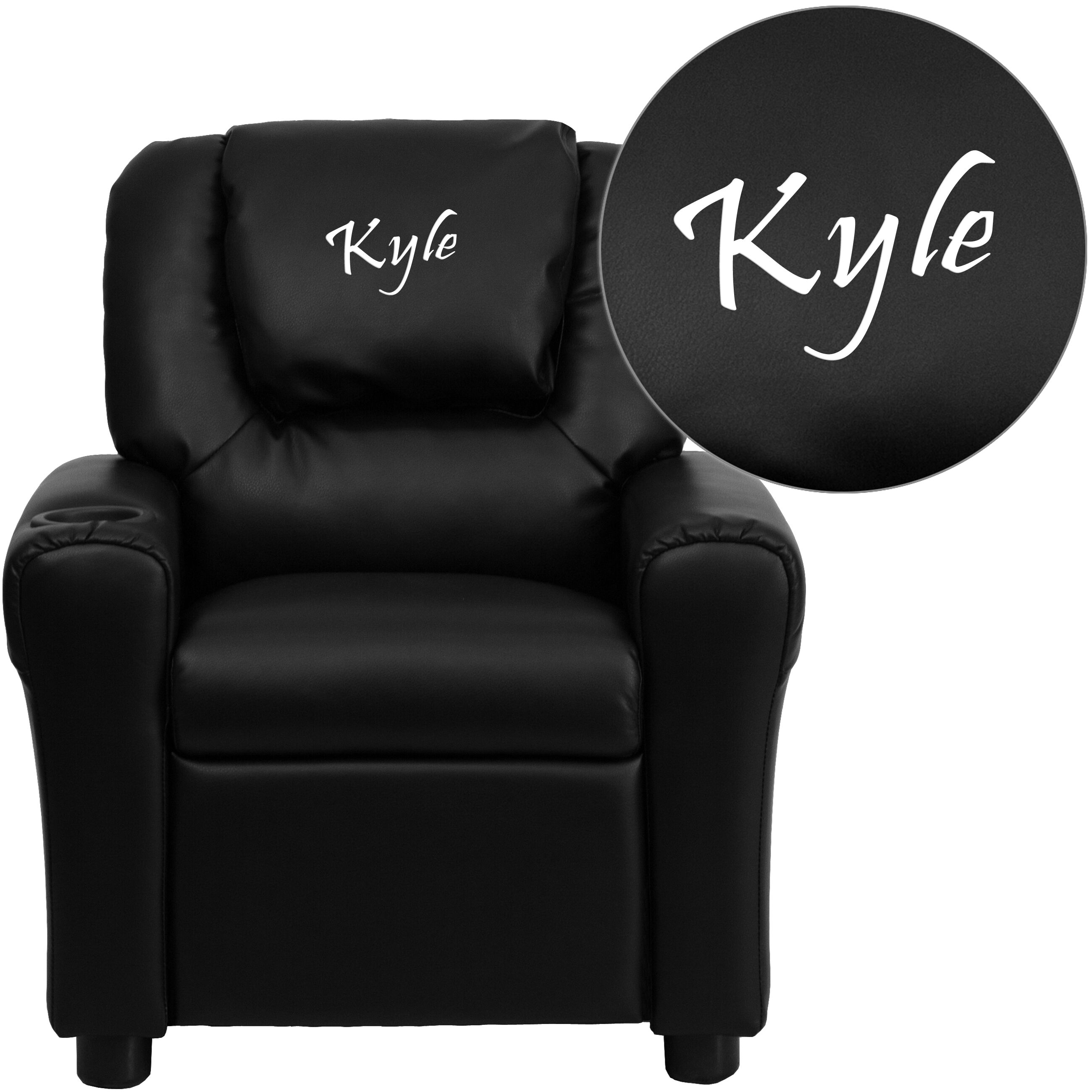 ... Our Personalized Black Leather Kids Recliner With Cup Holder And  Headrest Is On Sale Now.