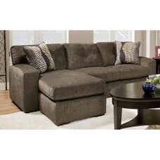 Rockland Contemporary Style Polyester Chaise Sofa - Hematite Gray