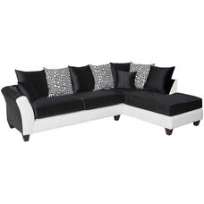 Riverstone Implosion Black Velvet Sectional with Right Side Facing Chaise
