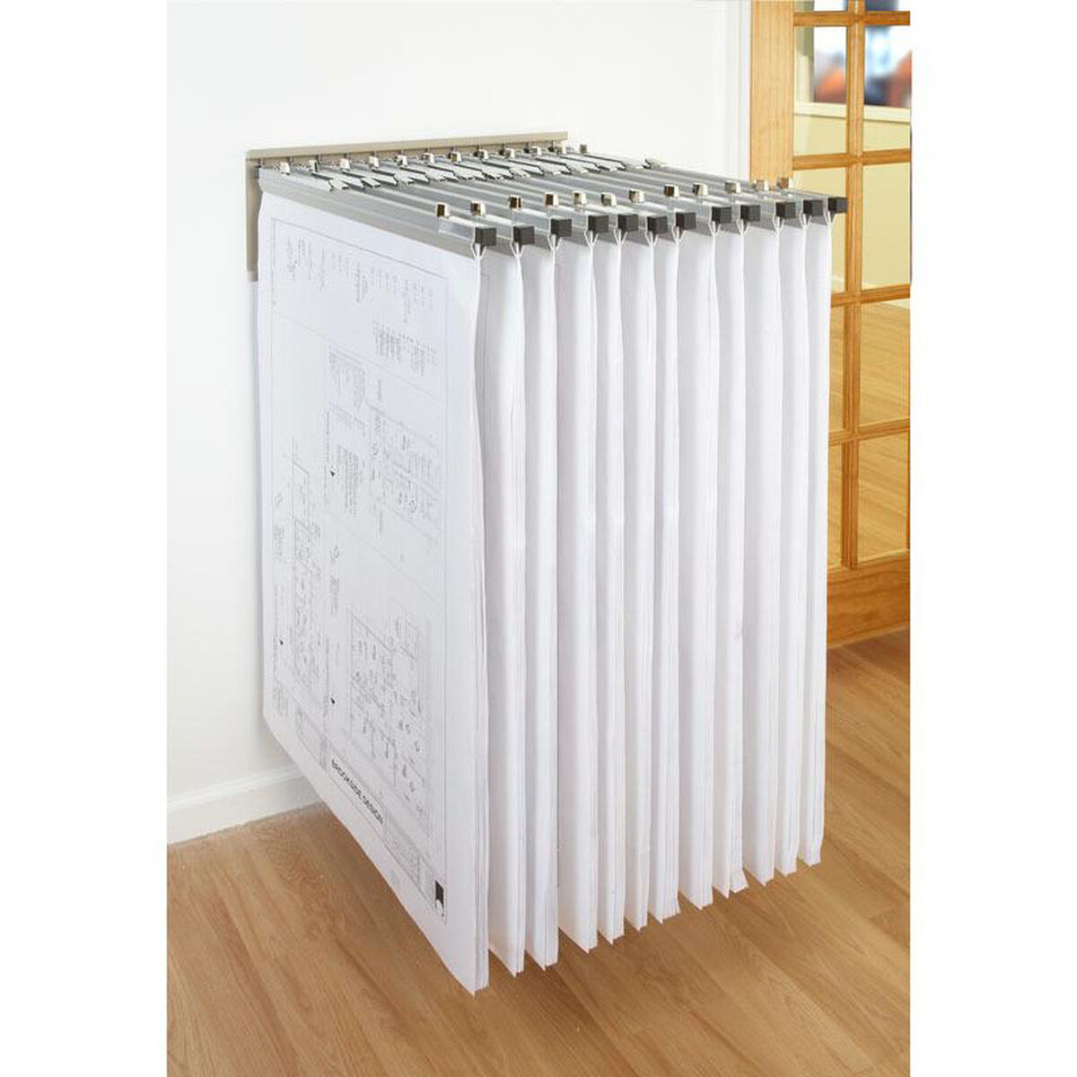 Blueprint storage wall rack wrwh bizchair our blueprint storage pivot wall rack with 12 chrome pivot hangers is on sale now malvernweather Choice Image