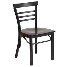 Black Ladder Back Metal Restaurant Chair with Walnut Wood Seat