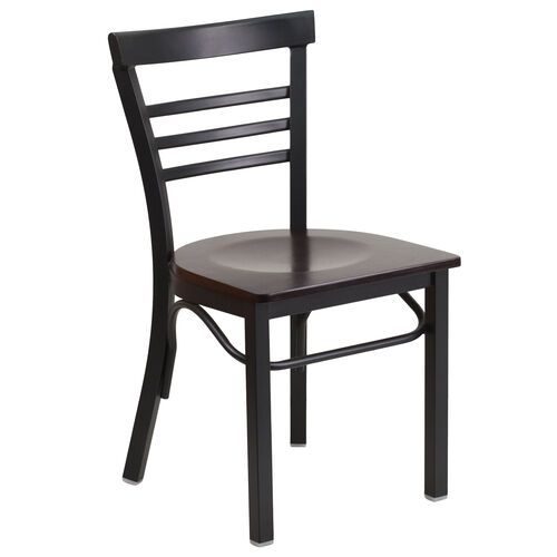 Our HERCULES Series Black Three-Slat Ladder Back Metal Restaurant Chair - Walnut Wood Seat is on sale now.
