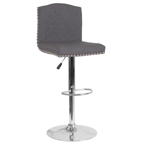Our Bellagio Contemporary Adjustable Height Barstool with Accent Nail Trim in Dark Gray Fabric is on sale now.
