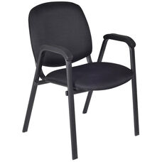 Ace 33''H Metal Frame Stackable Chair - Set of 4 - Black Fabric