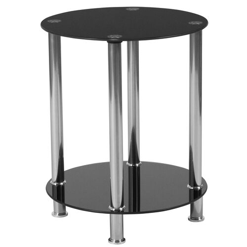 Our Riverside Collection Black Glass End Table with Shelves and Stainless Steel Frame is on sale now.
