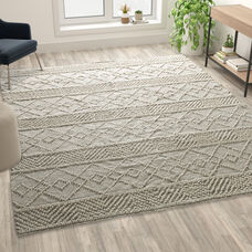 8' x 10' Ivory Geometric Design Handwoven Area Rug - Wool/Polyester/CottonBlend