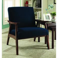 Ave Six Davis Fabric Accent Chair - Klein Azure and Medium Espresso
