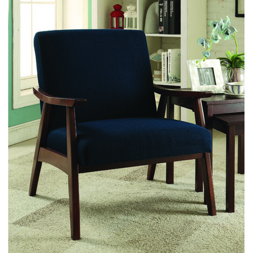 Our Ave Six Davis Fabric Accent Chair - Klein Azure and Medium Espresso is on sale now.