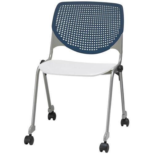 Our 2300 KOOL Series Stacking Poly Silver Steel Frame Armless Chair with Navy Perforated Back and Casters - White Seat is on sale now.