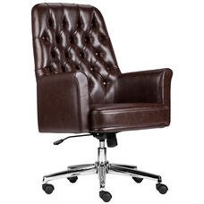 Mid-Back Traditional Tufted Brown Leather Executive Swivel Office Chair with Arms