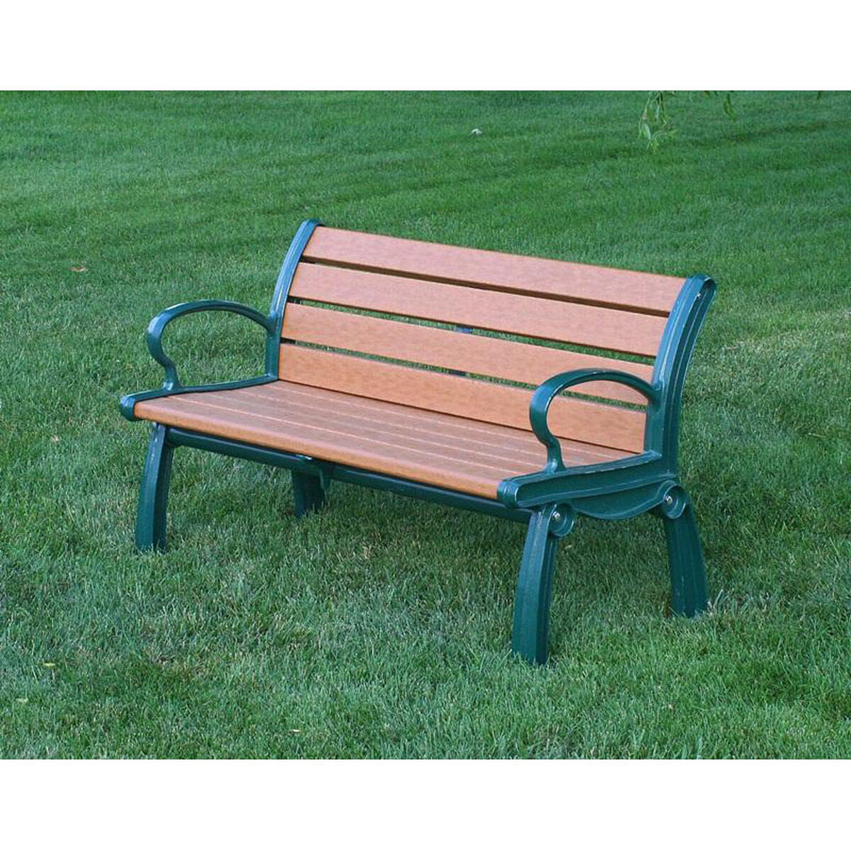 Our heritage 5 recycled plastic bench with aluminum frame is on sale now