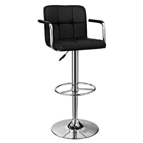 Quilted Swivel Barstool - Black Fabric with Chrome Finish
