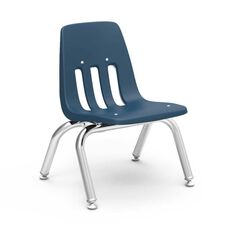 Quick Ship 9000 Classic Series Stack Chair with 10''H Polypropylene Seat and Chrome Frame - Navy - 14.63''W x 15''D x 18.38''H