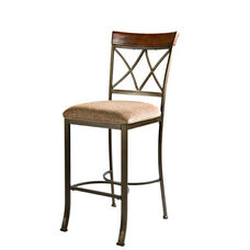 Hamilton Bar Stool - Brushed Medium Cherry with Diamond Pattern Taupe and Beige Fabric