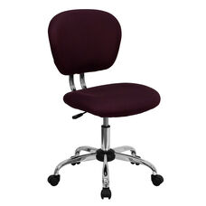 Mid-Back Burgundy Mesh Padded Swivel Task Office Chair with Chrome Base