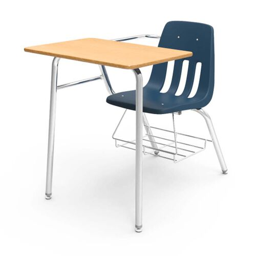 Our 9000 Series Classic Student Combo Desk with Fusion Maple Laminate Top, Chrome Frame, and Navy Chair - 24
