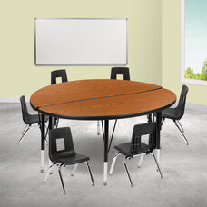 """47.5"""" Circle Wave Collaborative Laminate Activity Table Set with 12"""" Student Stack Chairs, Oak/Black"""