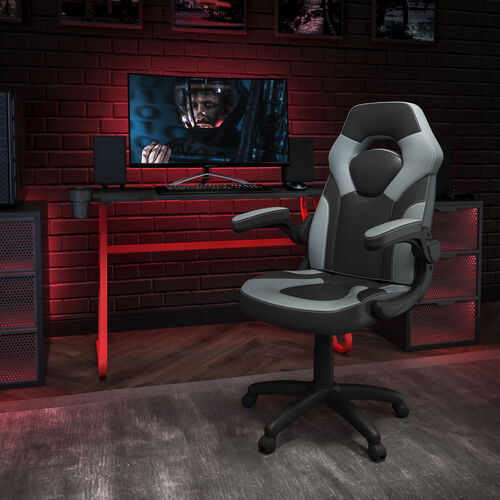 BlackArc Red Gaming Desk and Gray/Black Racing Chair Set with Cup Holder and Headphone Hook
