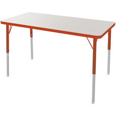 MG Series Teen Height Adjustable Rectangular Activity Table - Gray Glace Top with Red Edge and Legs - 60