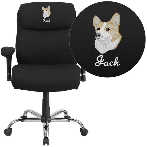 Our Embroidered HERCULES Series Big & Tall 400 lb. Rated Black Fabric Ergonomic Office Chair with Line Stitching & Arms is on sale now.