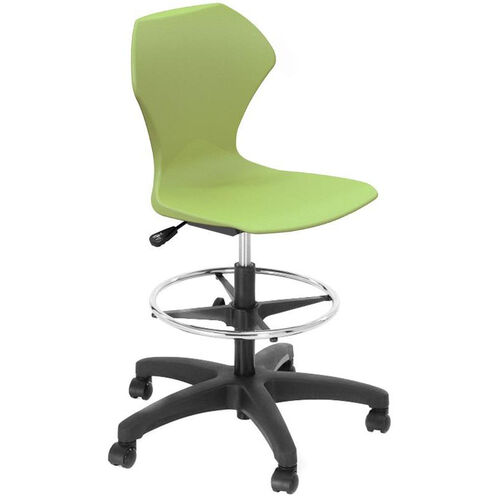 Our Apex Series Plastic Height Adjustable Swivel Stool with Foot Rest and 5 Star Base - Apple Seat - 21