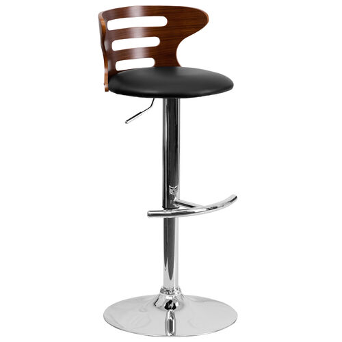 Our Walnut Bentwood Adjustable Height Barstool with Three Slot Cutout Back and Black Vinyl Seat is on sale now.