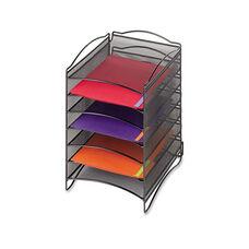 Safco® Onyx Steel Mesh Literature Sorter - Six Compartments - Black