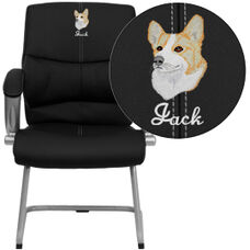Embroidered Black Leather Executive Side Reception Chair with Silver Sled Base