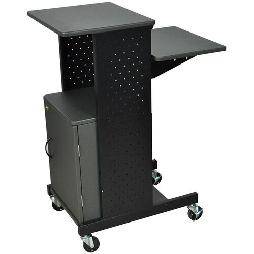 Our Steel Frame Mobile Presentation Station with Locking Cabinet - Gray - 18