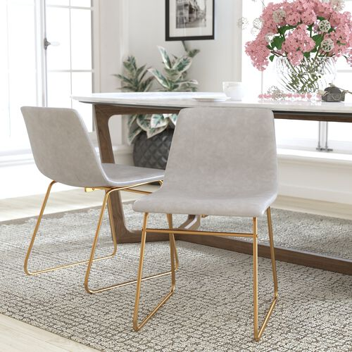 18 inch LeatherSoft Dining Chair in Light Gray, Set of 2