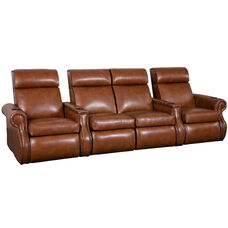 Bradford Four Seater Home Theater - Straight Arm in Bonded Leather