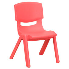 Red Plastic Stackable School Chair with 10.5